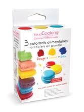 Achat en ligne Set 3 colorants alimentaires artificiels en poudre 3x10g