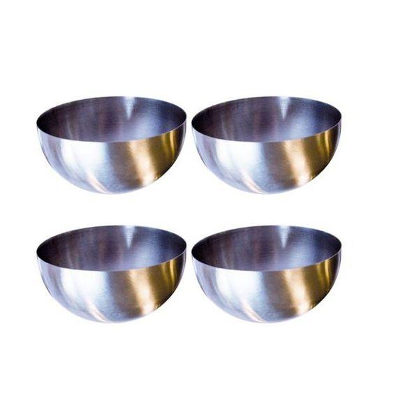 Set di 4 campane di presentazione in acciaio inox