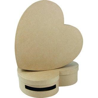 Urne en forme de cœur à décorer en papier mâché 9x36x36cm