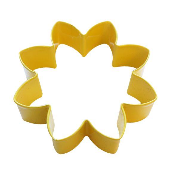 Tagliabiscotti fiore giallo in metallo verniciato da 9 cm