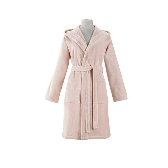 compra en línea Albornoz con capucha mujer, talla L, de algodón rosa palo
