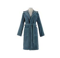 compra en línea Albornoz con capucha mujer, talla S, de algodón azul grisáceo