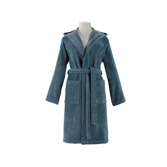 compra en línea Albornoz con capucha mujer, talla L, algodón azul grisáceo