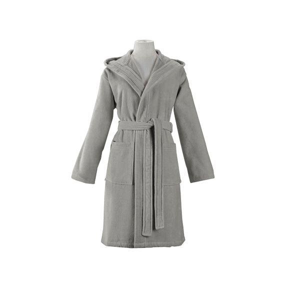 compra en línea Albornoz con capucha mujer, talla M, de algodón gris claro