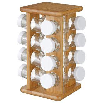 Support rotatif bambou avec 16 pots à épices en verre