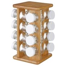 Achat en ligne Support rotatif bambou avec 16 pots à épices en verre