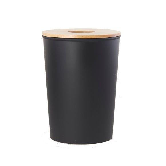 acquista online Cestino nero per il bagno con coperchio in legno 7L
