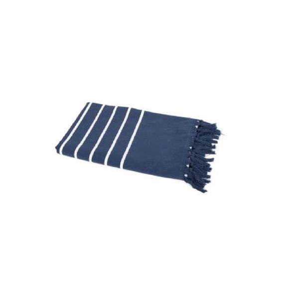 Drap de plage 90X180 cm en coton marinière bleu