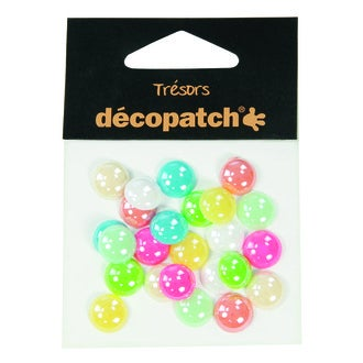 DECOPATCH - Set de 24 cabochons à coller pastel Ø1cm