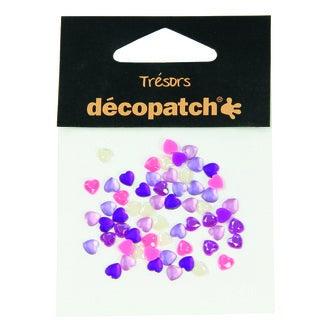 DECOPATCH - Set de 60 cabochons cœurs roses et violets Ø5 mm