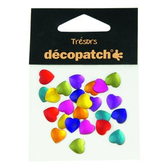 DECOPATCH - Set de 24 cabochons cœurs flashy Ø1cm
