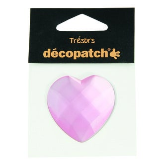 DECOPATCH - Cabochon cœur rose Ø4,5cm