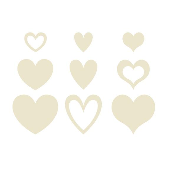 Achat en ligne Set de 129 cœurs ornemental en bois