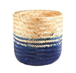 Achat en ligne Panier tressé en bambou naturel bleu 38x36cm
