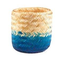 Achat en ligne Panier tressé en bambou naturel bleu 28x26cm