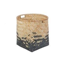 Achat en ligne Panier tressé en bambou naturel noir 35x35cm