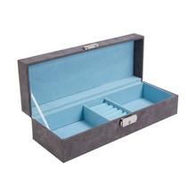Achat en ligne Boite à bijoux grise et bleu aqua en suédine 28x10x7cm
