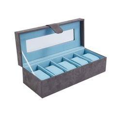 compra en línea Caja para 5 relojes o joyero en gris y azul aguamarina