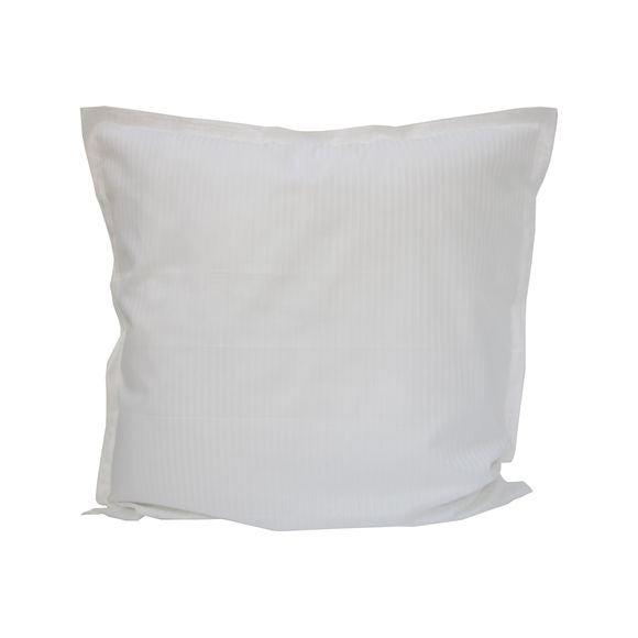 Federa in raso bianco a righe con bordo ricamato 65x65cm