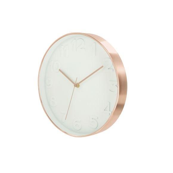 Achat en ligne Horloge murale ronde blanche et cuivrée Ø30cm