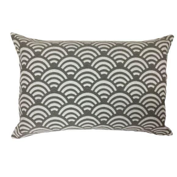 Cuscino rettangolare in cotone decori bianco nero 40x60cm