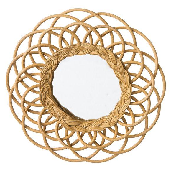 Miroir rond en rotin Fleur Ø30cm