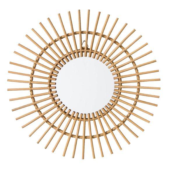 Achat en ligne Miroir rond en rotin Soleil Ø55cm