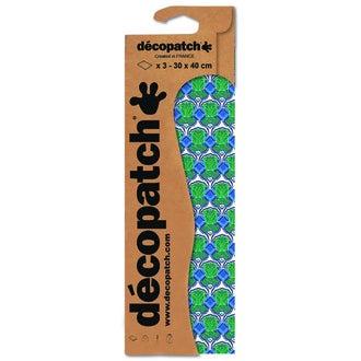 DECOPATCH - Set de 3 feuilles de décoration fleuries bleues C769