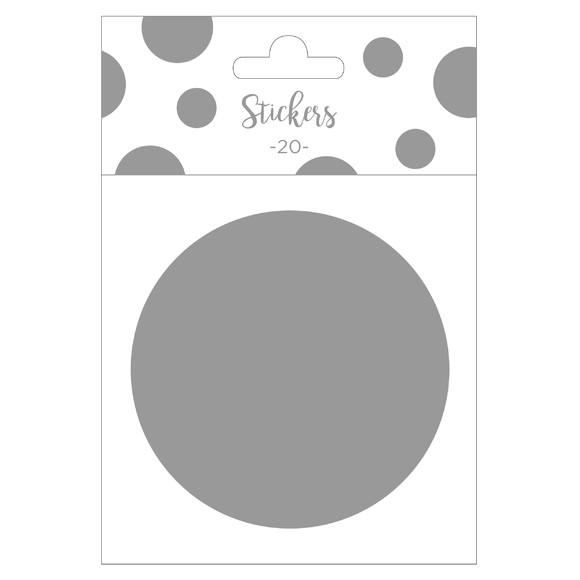 Achat en ligne Set de 20 stickers ronds argentés 9 cm