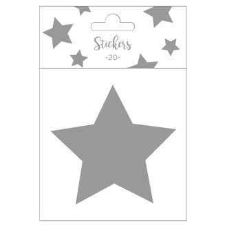 Set de 20 stickers étoiles argentées 9 cm