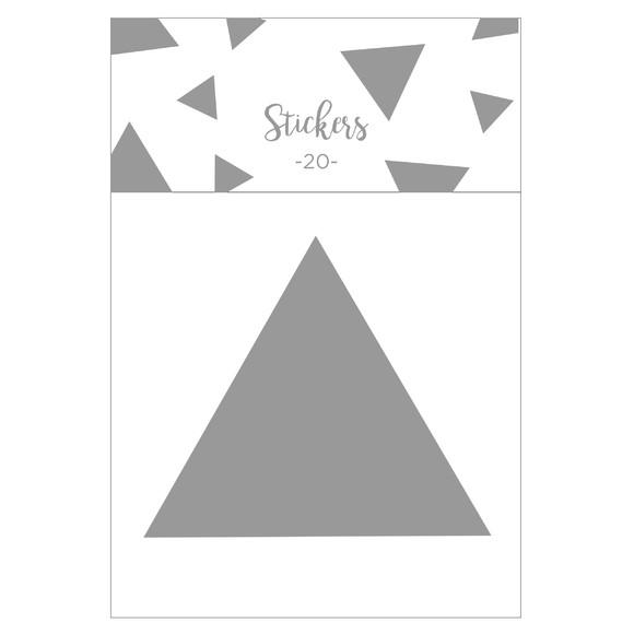 Set de 20 stickers triangles argentés 5 cm