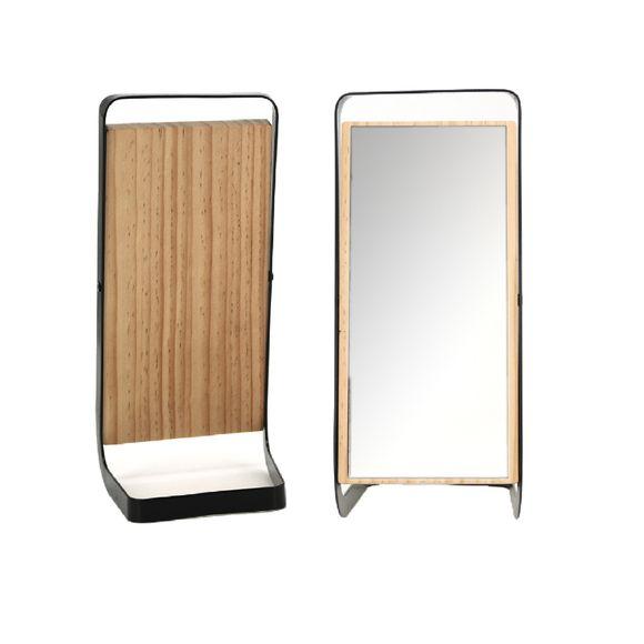acquista online Specchio rettangolare da appoggio in legno e metallo nero