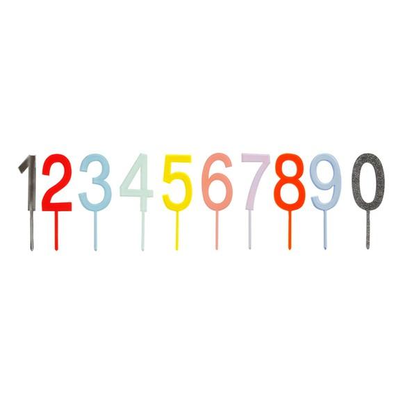 Stecchini numeri in acrilico traslucido colorato