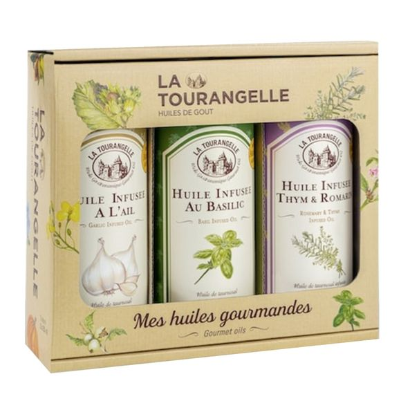 Trio huiles infusées: Ail, Basilic et Thym-Romarin 250ml