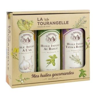 Trio huiles infusées: ail, basilic et thym-romarin 250ml