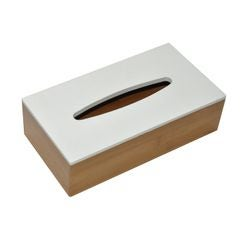 compra en línea Caja de pañuelos de bambú con tapa blanca (25 x 13,5 x 7 cm)