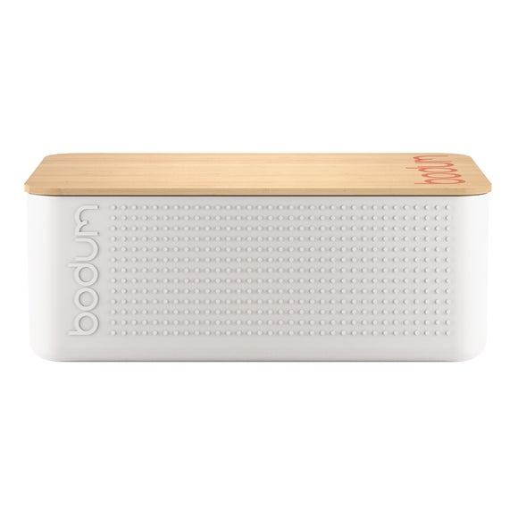 Achat en ligne Boite pain petit modèle blanc couvercle bambou 19x29x11 cm
