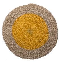 Achat en ligne Set de table rond en jute, naturel et jaune, 32cm