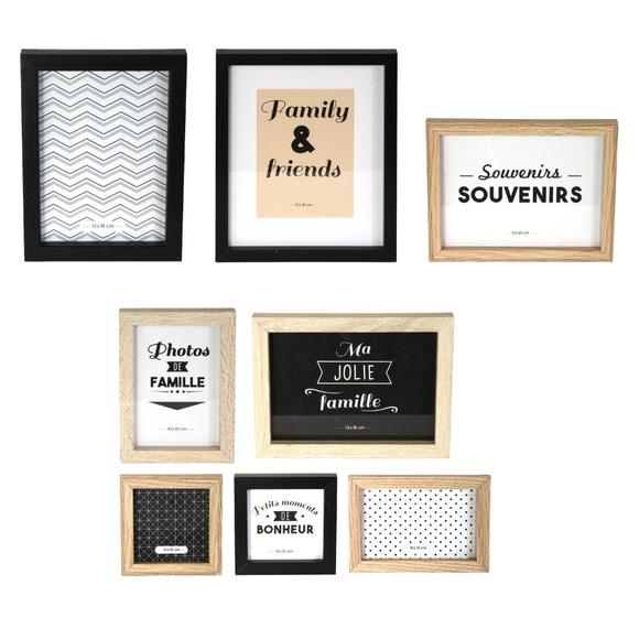 Achat en ligne Set de 8 cadres photos pour composition murale bois et noir