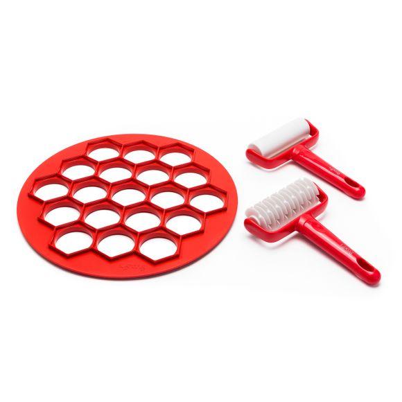 acquista online Kit piccolo forno tagliapasta plastica rosso e rullo bianco