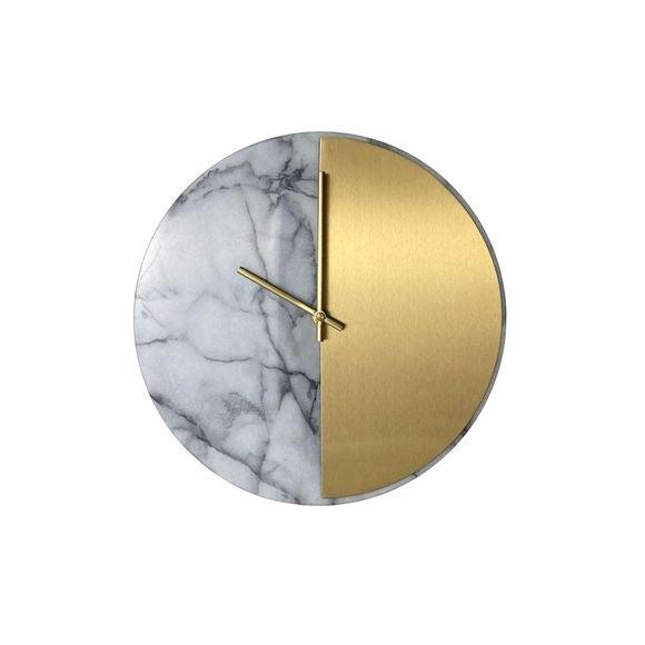 acquista online Orologio in marmo bianco e ottone silenzioso, ø 30cm