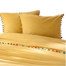 Achat en ligne Taie oreiller en coton curry finition pompons 50X70cm