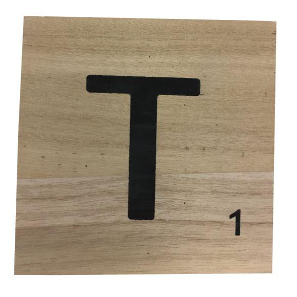 Lettre T scrabble en bois 10x10x0,6cm
