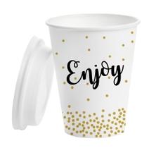 Achat en ligne 5 mugs en carton 33cl avec capuchon blanc Enjoy