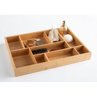 Organizer da cassetto in bamboo con 9 scomparti, 44,5x32x5