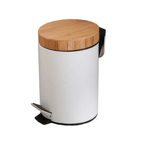 poubelle de salle de bain en metal et bambou 3l