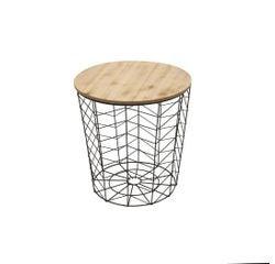Achat en ligne Table filaire bois et métal motif chevron noir