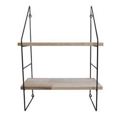 compra en línea Estantería de pared de 2 estantes y soportes de escalera negra