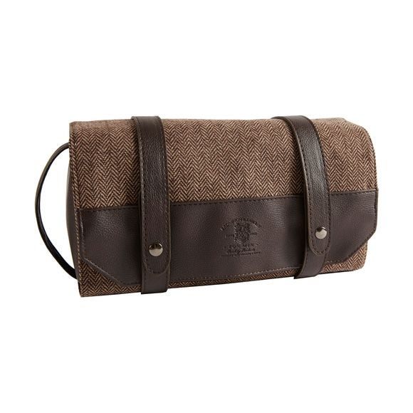 Trousse da appendere tweed marrone