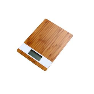 Balance de cuisine électronique en bambou/écran blanc 5kg